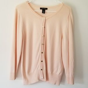 WHBM - Light Pink Snap Up Cardigan w/ Gold Buttons